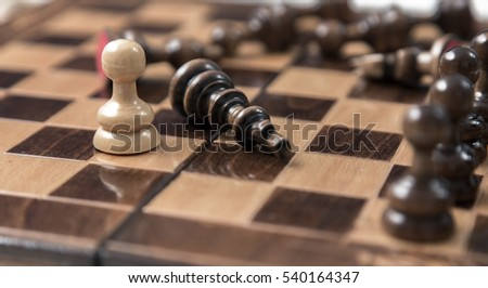 One pawn staying against full set of chess pieces..Pawn opposition in the middle of the board