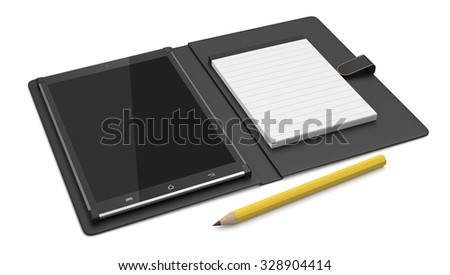 one pc tablet with cover, paper notepad and pencil (3d render) - stock photo