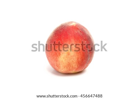 One peach isolated on white background - stock photo