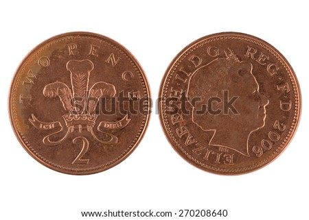 One penny coin isolated on white background. - stock photo