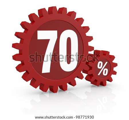 one percent icon made with two red cogwheels and the number 70 - stock photo