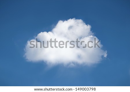 One perfect fluffy white cloud in bright blue sky