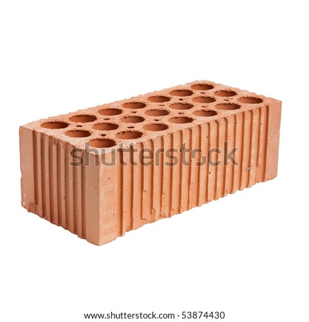 One perforated brick isolated on white. - stock photo