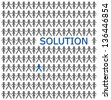 one person is selection from the crowd because he has a solution. - stock photo