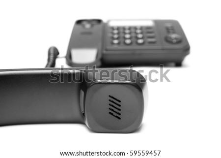 One  phone on white background - stock photo