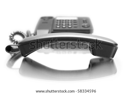 One phone with mirror reflexion on white background - stock photo