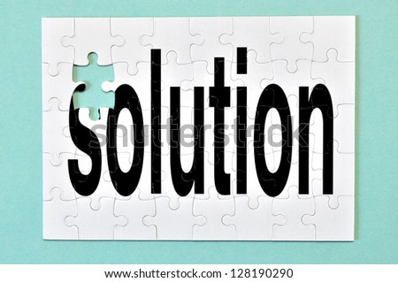 One piece is missing to the solution. Conceptual Image. - stock photo