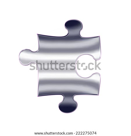 One piece of silver metal jigsaw puzzle - stock photo