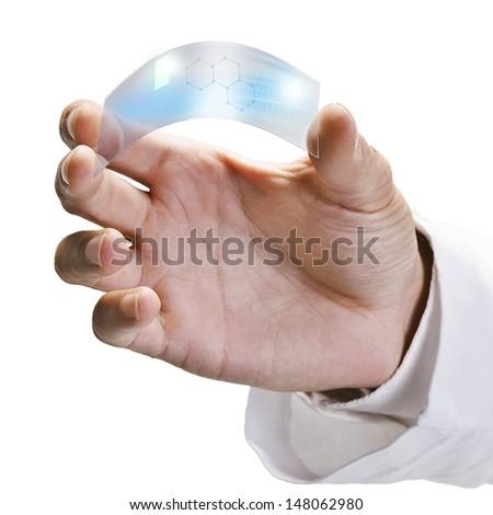 One piece transparent of graphene application.  Graphene application - stock photo