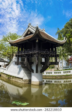 One Pillar pagoda in Hanoi, Vietnam. One of beauty-spots in Hanoi, the One-Pillar Pagoda (one of Vietnamâ??s two most iconic pagodas, side by side the Perfume Pagoda) is a popular tourist attraction - stock photo