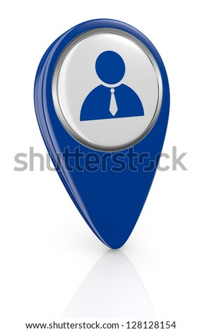 one pin pointer with a businessman symbol (3d render) - stock photo