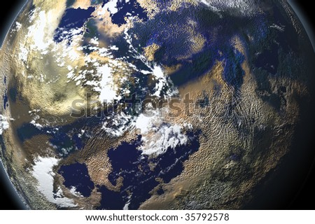 one planet in deep space5 - stock photo