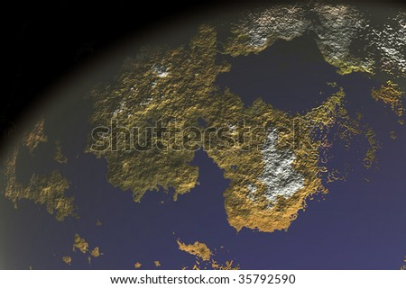 one planet in deep space9 - stock photo