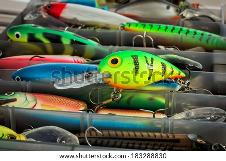 One plastic wobbler of a set of fishing lures - stock photo