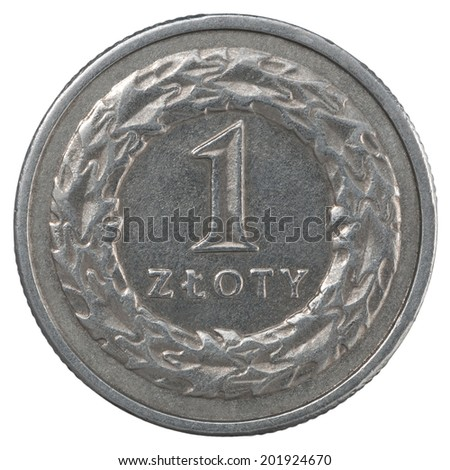 One Polish Zloty coin isolated on white background - stock photo