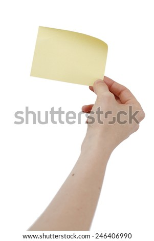 One post it in a woman hand - stock photo