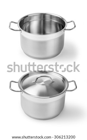 one professional metal pot cooker for boiling - stock photo