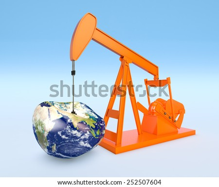 one pumpjack with a deflated earth globe, concept of shortage of oil resources (3d render) - Elements of this image furnished by NASA - stock photo