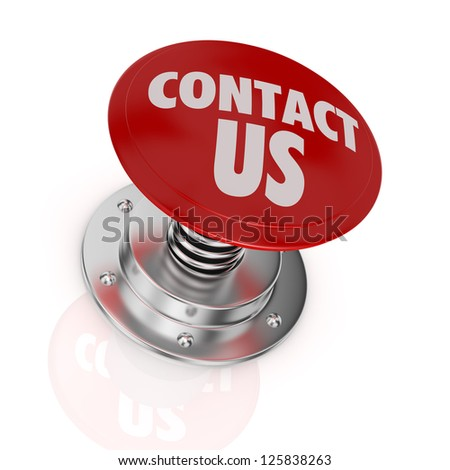 one push-button with the text: contact us (3d render)