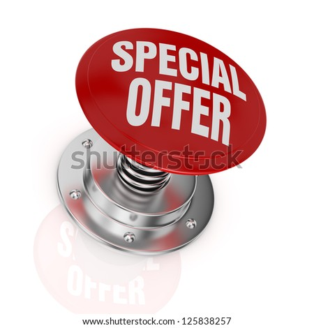 one push-button with the text: special offer (3d render)