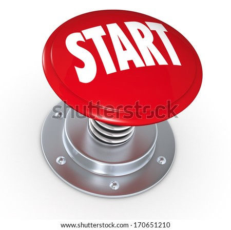 one push button with the text: start (3d render)