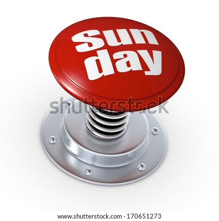 one push button with the text: sunday (3d render)