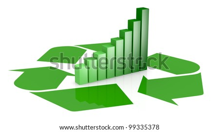 one recycling symbol with a bar chart in center of it, that means growing of concepts of eco sustainability (3d render) - stock photo