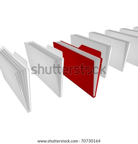 One red and white folders are in a series on the black glossy floor