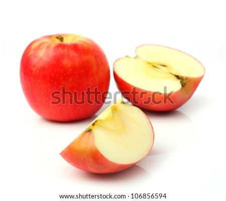 One red apple and slice isolated on a white background - stock photo