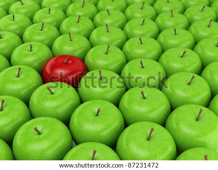 One red apple selected on the background of green apples - stock photo