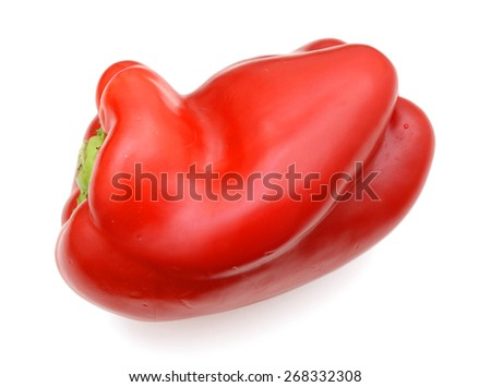 one red bell pepper on white background  - stock photo