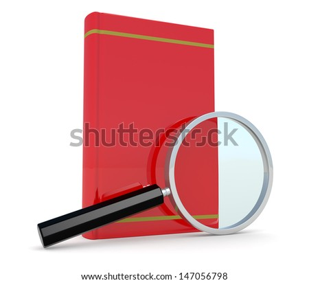 one red book with a magnifying glass, concept of studying and researching information (3d render) - stock photo