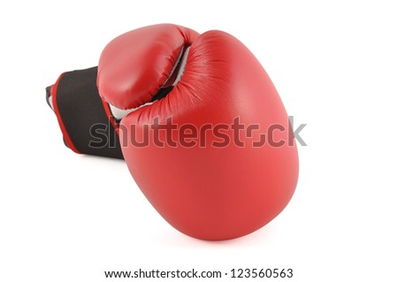 One red boxing glove in white background