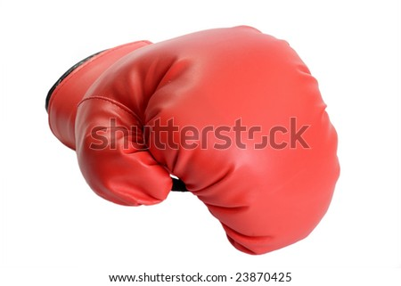 One red boxing glove isolated on white background - stock photo
