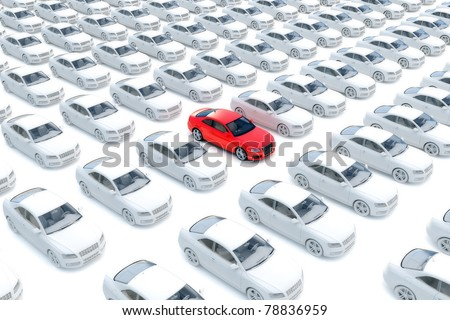 One red car with hundreds white - stock photo