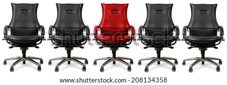 one red chair amongst black, concept of the hot seat, isolated on a white background - stock photo