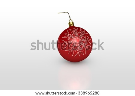 one red christmas ball with white snowflake over white background - stock photo