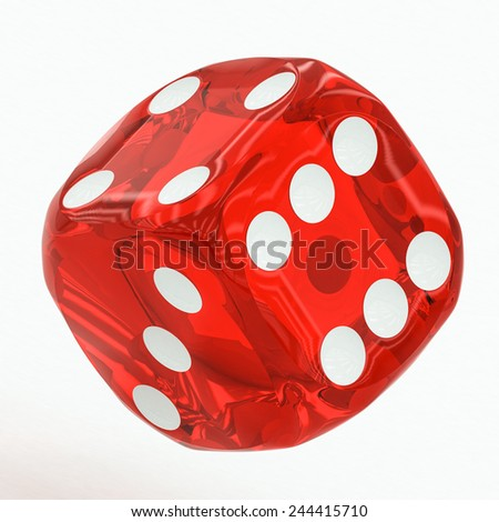 one red dice falling on a white background