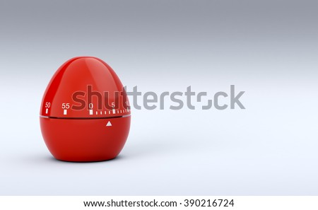 one red egg-timer with empty space at the right, concept of deadline (3d render) - stock photo