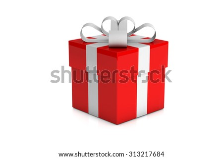 one red gift box with white ribbon isolated on white background - stock photo