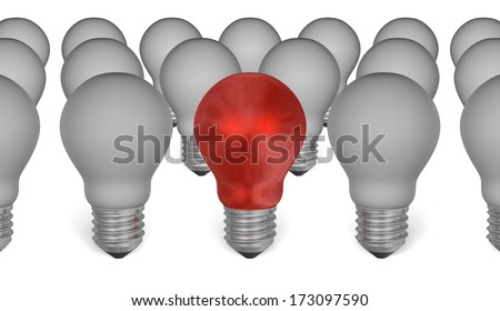 One red light bulb among grey ones isolated on white background
