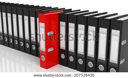 One red office folders among black ones with blank labels isolated - stock photo
