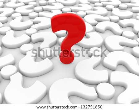 One red question mark around white question marks on white background. 3D illustration.