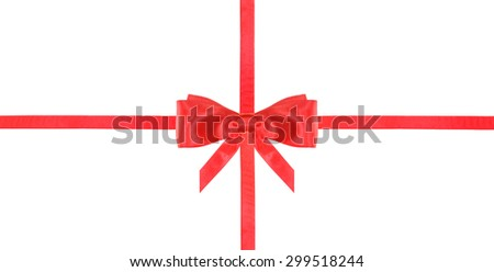 one red satin bow in center and two intersecting ribbons isolated on horizontal white background
