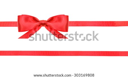 one red satin bow in upper left corner and two horizontal ribbons isolated on horizontal white background