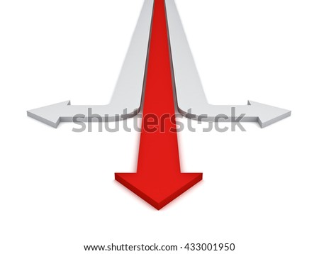 One red straight arrows showing three different directions concept isolated over white background. 3D rendering. - stock photo