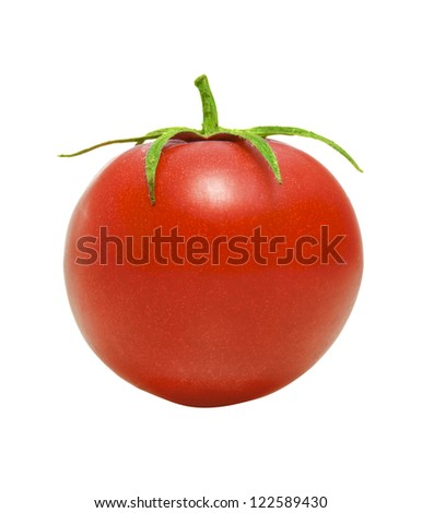 One Red Tomato Isolated on White Background - stock photo
