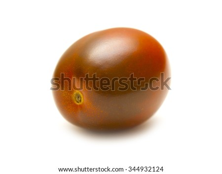 One red tomato on white background