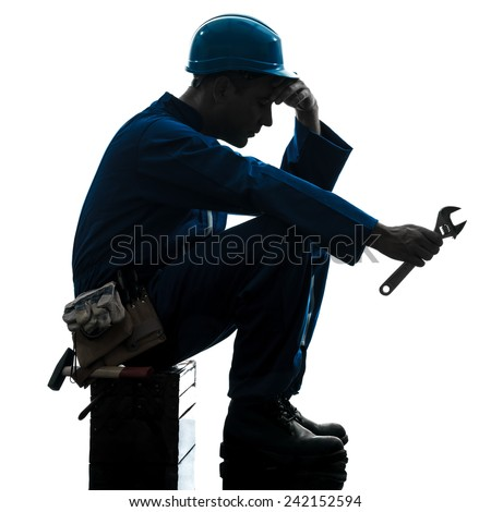 one  repairman worker sad fatigue failure silhouette in studio on white background - stock photo