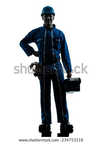 one  repairman worker standing smiling silhouette in studio on white background - stock photo